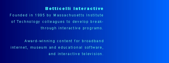 Botticelli Interactive  Founded in 1995 by Massachusetts Instit